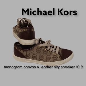 Michael Kors monogram canvas& leather city sneaker